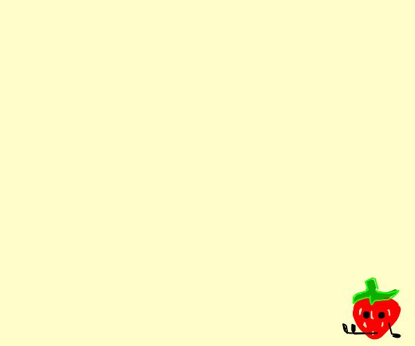 Tiny strawberry in the corner