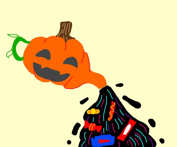 Pumpkin teapot pouring candy