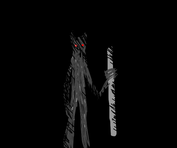 Shadow man with a pole in his hand