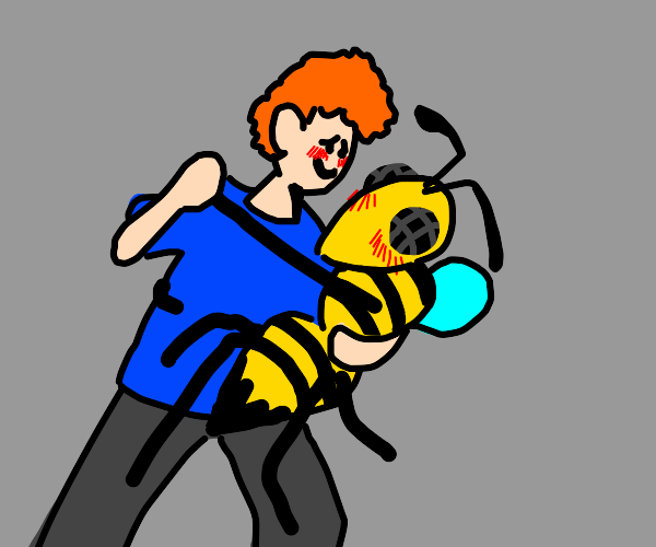 Fly/wasp? man in yellow shirt dancing with