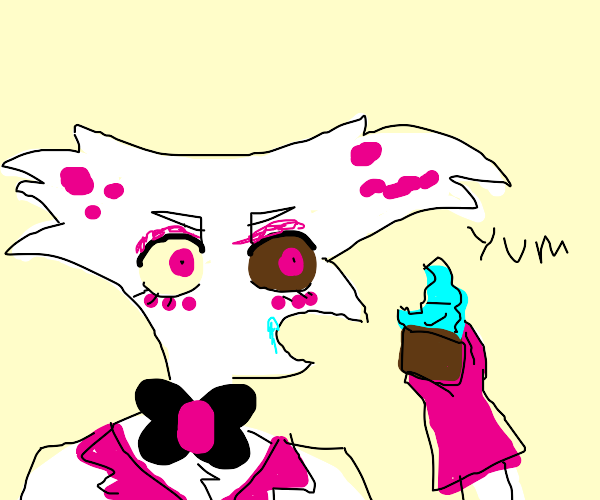 angel dust eating a cupcake