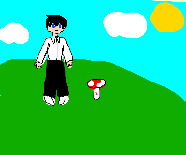 basic anime protagonist on hill w/ mushroom
