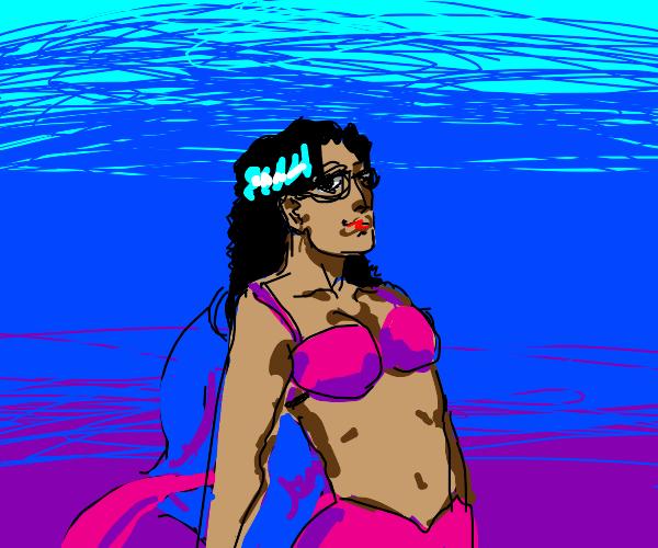 mermaid with glasses