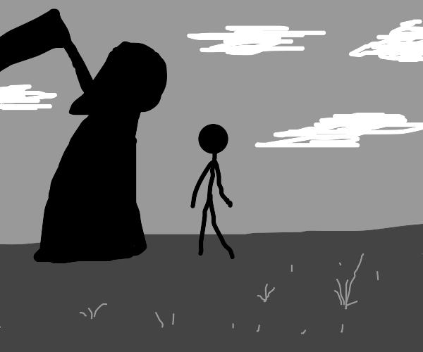 grim reaper meets a man