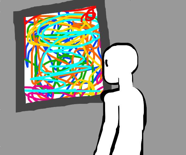 Man observes an abstract monstrosity