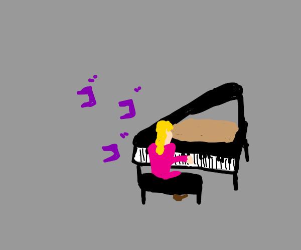 Giorno playing piano