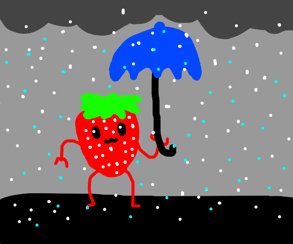 a strawberry outside during a hail storm