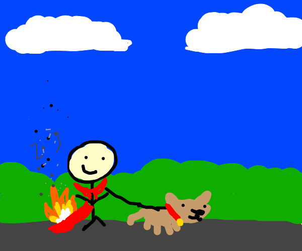 man's red cape sets on fire while dog walking
