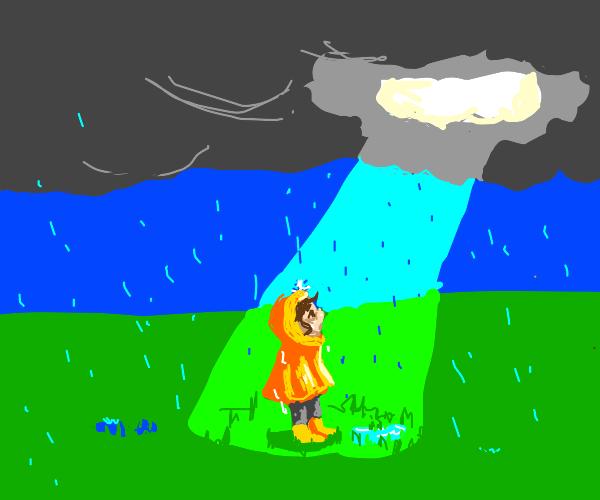 Light in a rainstorm