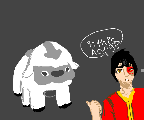 """zuko looking at appa and asking """"is this aang"""