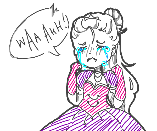 Girl in violet and pink gown sobs