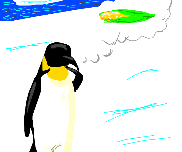 Penguin thinks about corn