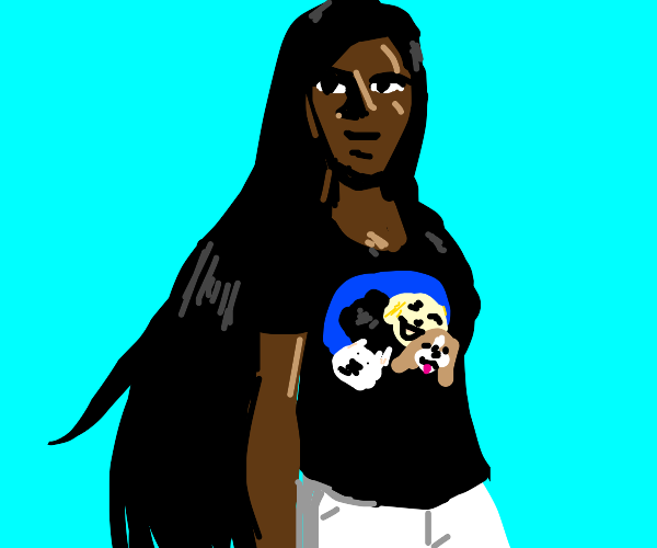 Girl with dog shirt and long hair