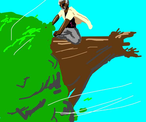 god riding a tree