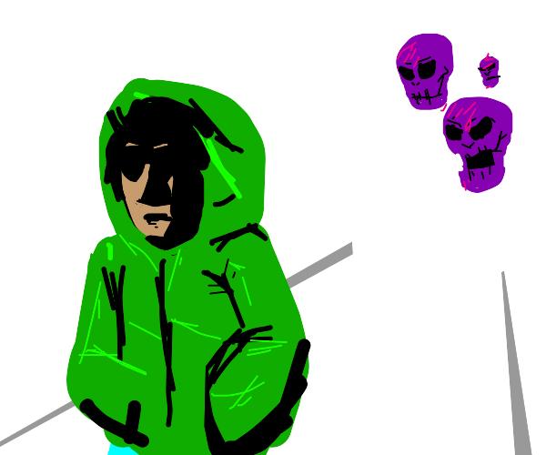 Guy in hoodie walks away from purple skulls