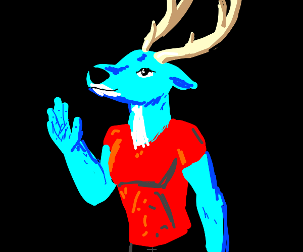 blue furry with antlers wearing a red shirt