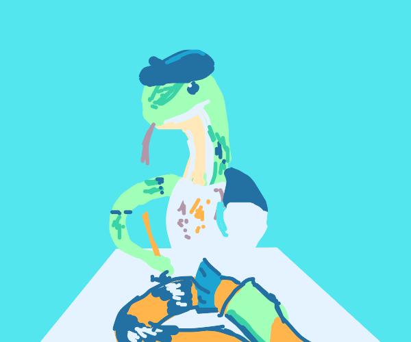 Snake artist painting snake waifu