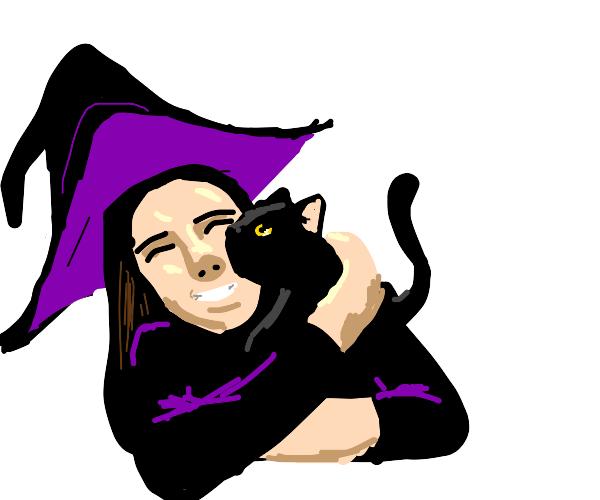 young witch relaxing with her black cat