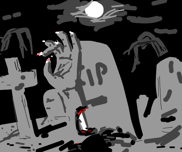 Zombie rises from the grave