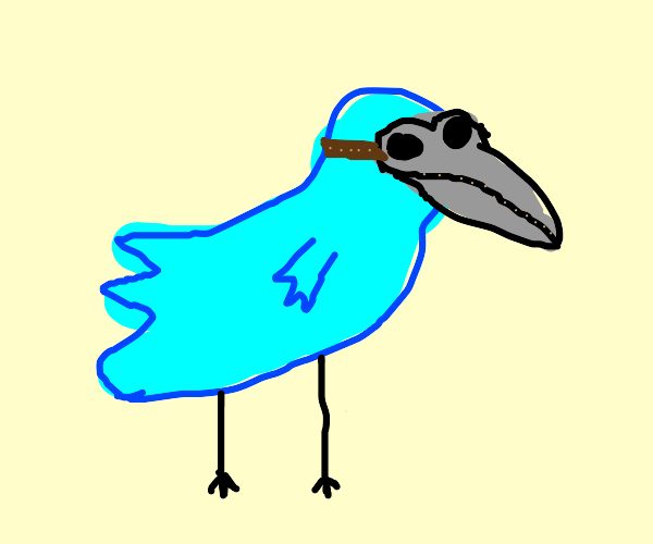 Bird wearing bloody plague mask