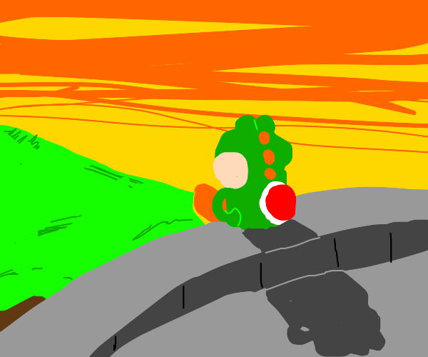 Yoshi alone and lost