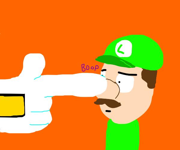 Waluigi booping Luigi's nose