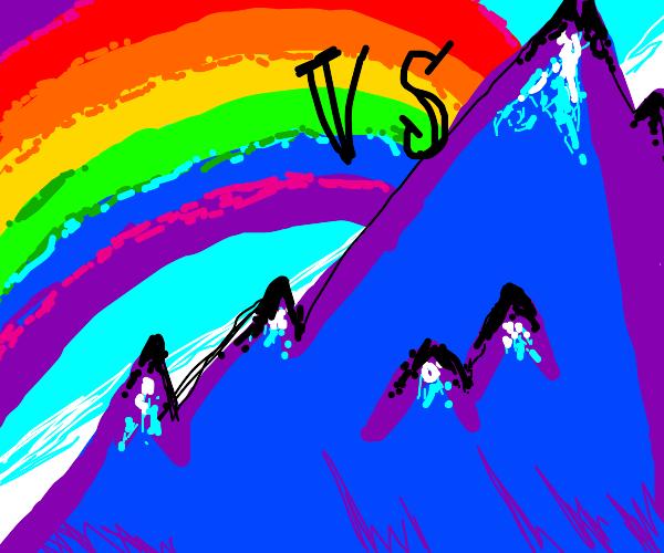 rainbow vs. mountain