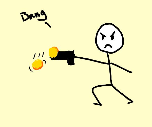Stick man with coin gun