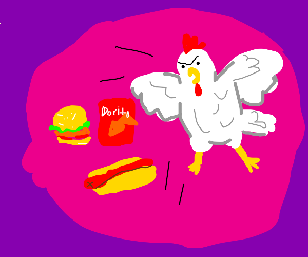 the chicken is mad at non organic food