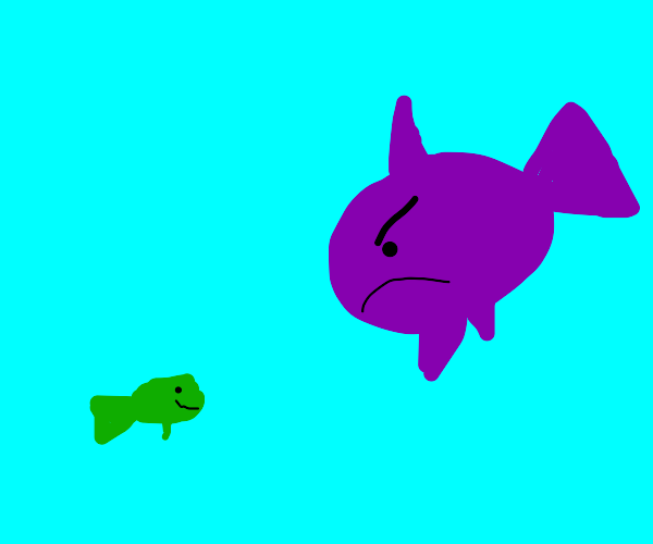 mad purple fish with little green friend