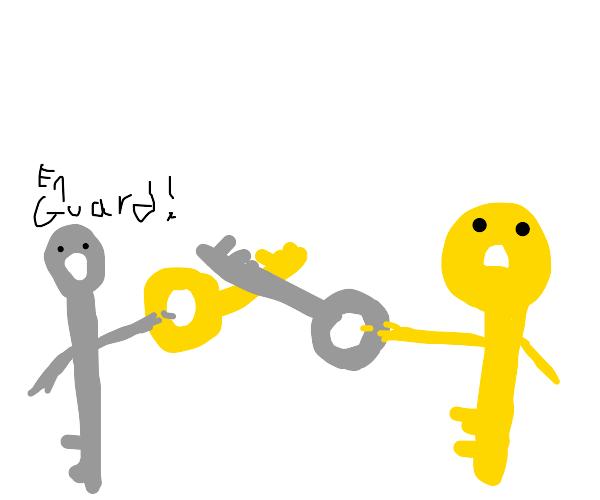 Keys swordfighting