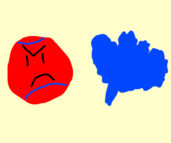 Ball angry at blue leaf