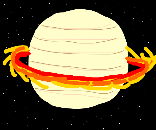 Saturn but the ring is on fire