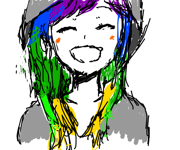 beautifully long rainbow hair