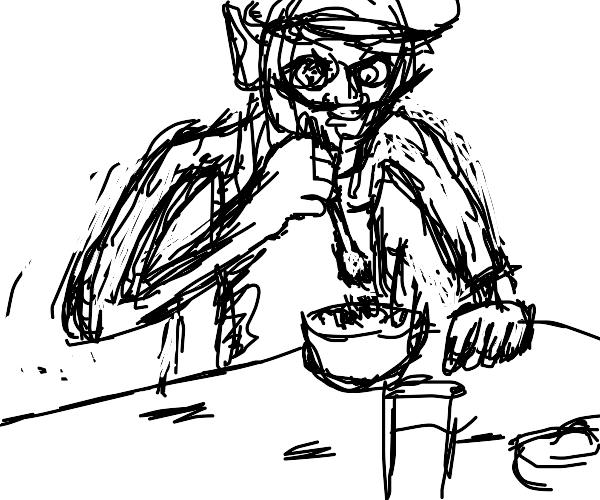 Waluigi eating salad