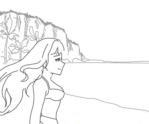 girl vibing at the beach