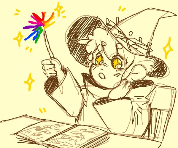 Chibi Wizard casts Kawaii Rainbow Magic