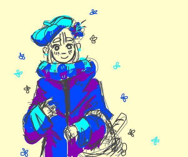 cute girl wearing blue