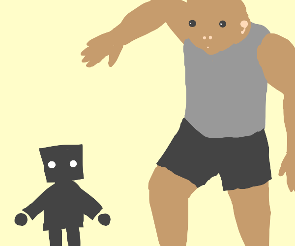 Tiny robot confronted by giant man