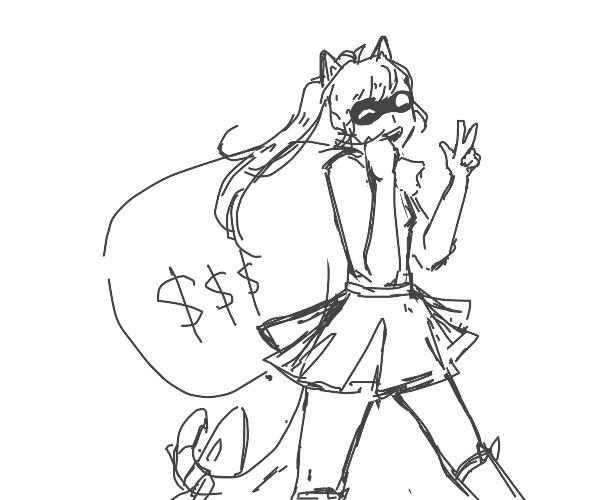 cat girl stealing goods