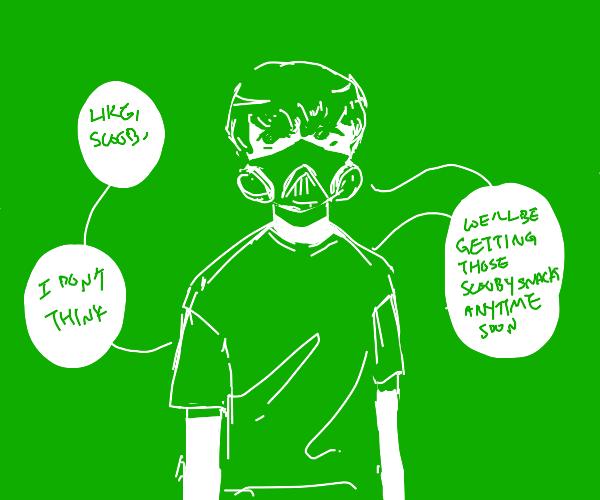 Shaggy wearing a gas mask?