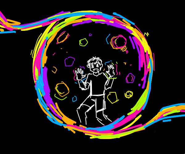 guy trapped in rainbow ball