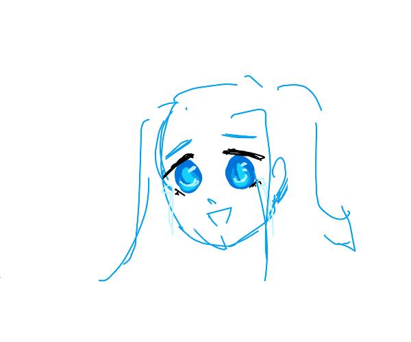 Sad ocean eyed anime girl.