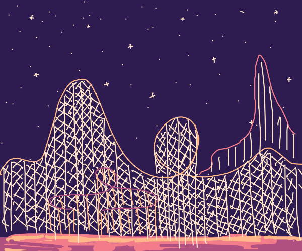 rollercoaster at night