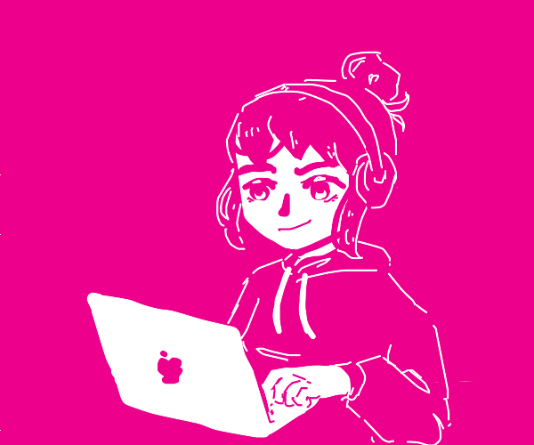 Girl gaming on a laptop