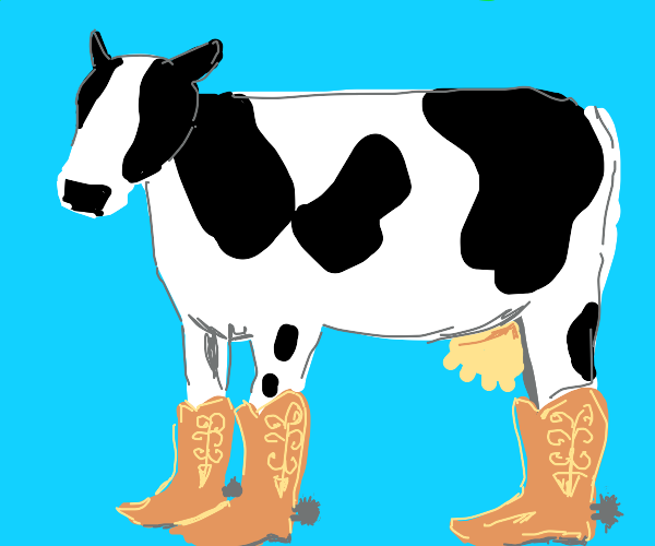 A cow with cowboy boots