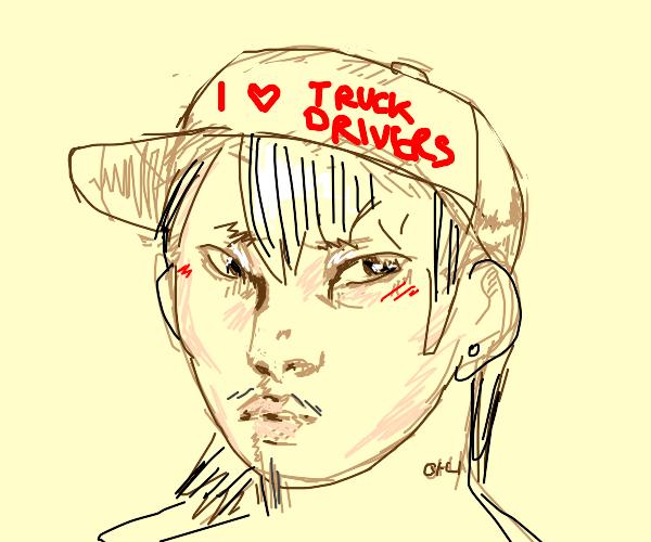 rural man wearing truck drivers r cool hat