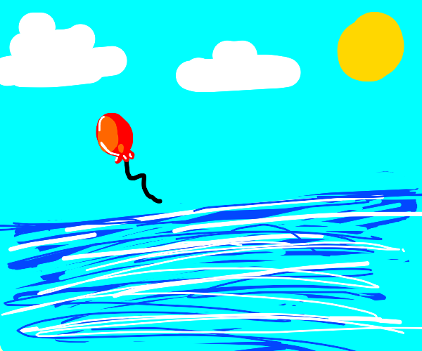balloon flying over the ocean
