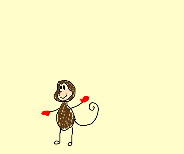monkey with red gloves on