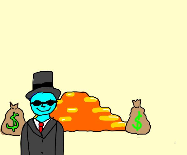 Blue man rich